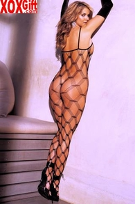 Big Diamond Geometric Pattern Bodystocking R 0034
