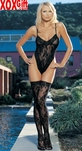 2 Pc Floral Lace Teddie With Snap Crotch Closure & Matching Thigh High Stockings LA 8647