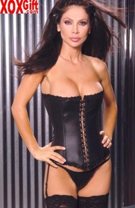 Womens Leather Strapless Corset, Hook & Eye Detail, Boning & Leg Garters. EM L4135