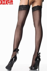 Sheer Thigh High With Lace Top, Back Seam & Pearl Satin Bow LA 9022