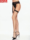 Plus Size Lycra Fence Net Stockings With Lace Garter Belt LA 1769Q