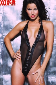 Women's Sexy Black Leather & See Through Mesh Halter Teddy AL 4-465