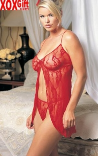 Plus Size Romantic Lace Open Front Babydoll With Matching G-String LA 8782Q