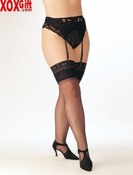 Plus Size Lace Top Sheer Stretch Nylon Stockings X5077