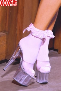 Womens Nylon Anklets With Ruffles & Satin Bow EM 1784