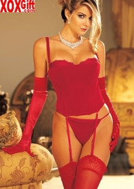 Red Velvet Bustier & G-String 2 Pc Set 9102