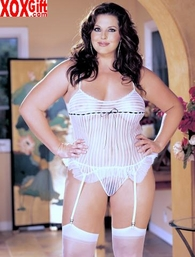 Plus Size Sheer On Striped Net Bustier 3 Pc Set R 6940Q