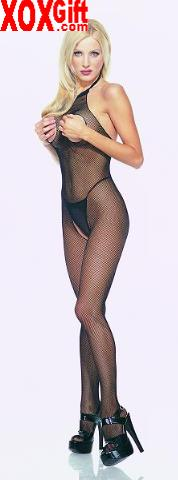 Seamless fishnet halter body stocking With open bust & crotch EM 8350