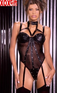 Black Leather And Fishnet Teddiette EM L2162