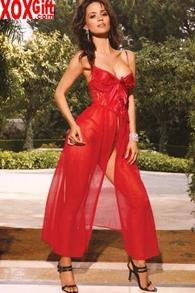 Seductive Satin Long Gown & Matching Panty Lingerie Set EM 1844