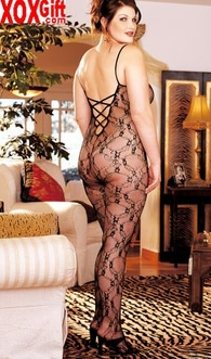 Plus Size Lace Crotchless Bodystocking X96621