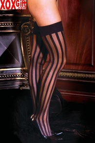 Plus Size Women's Vertical Striped Thigh High Stockings EM 1732Q