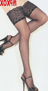 """Lycra Sheer Stay-Up Stockings With Big 5"""" Lace Tops! Fine Lingerie & Hosiery LA 9750"""