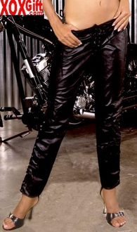 Leather pants With lace up side detail EM L9119