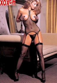Black Fishnet Halter Neck & Open Bust 3 Pc Set R 0017