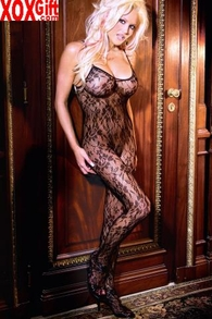 Plus Size Womens Open Crotch Rose Lace Bodystocking EM 1610Q