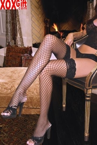 Women's Industrial Fishnet Stay Up Thigh High Stockings With Silicone Lace Tops EM 1757