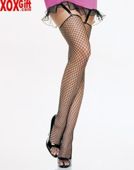 Lycra Industrial Fence Net Thigh High Stockings With Unfinished Tops LA 9040