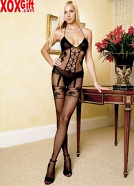 Womens Faux Garterbelt Crotchless Bodystocking LA 8472