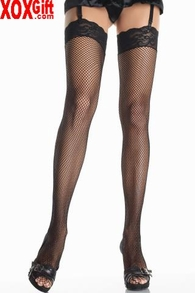 "Fishnet Thigh High Stockings With 3"" Stretch Lace Top LA 9023"
