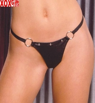 Leather g-string With rings and rivets EM L9258