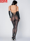 Open Crotch Lace Bodystocking With Lace Up Back & Gloves LA 8254