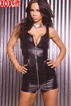 Zip front leather mini dress. EM L8905