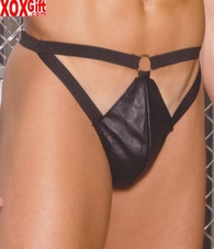 Leather thong With cut out front and O ring detail EM L9137