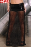 Vinyl Skirt With Lace Up Sides & A Sheer Mesh Bottom. EM V6137