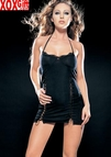 Slinky Tie Neck Mini Dress With Lace Trim & Dual Lace Up Slits LA 8430