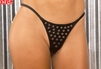 Leather g-string With rivets EM L9191