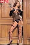 Camigarter, G-String And Stockings Three Piece Lingerie Set R 90063