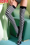 6 Pack Of Opaque Checkerboard Thigh High Stockings. LA 6281