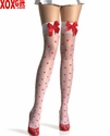 Satin Bows On Sheer Stockings With Woven Hearts LA 1018