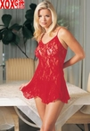 Plus Size Rosy Lace Flared Chemise With G-String LA 8717Q