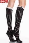 Black Acrylic Polka Dot Knee Socks LA 5568