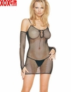 3 Pc Fishnet Lace Up Mini Dress With Fingerless Gloves & G-String LA 8319