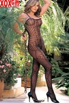 Spiderweb Pattern Black Crotchless Bodystocking R 90067