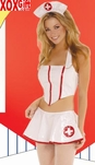 Womens Flirty Nurse Vinyl Costume EM 9373