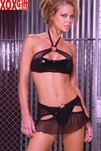 3pc Vinyl bra With fishnet cami, skirt and thong EM V5115