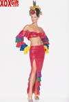 Chiquita Costume With Crop Top & Ruffle Skirt 2 Pc Set LA 8011
