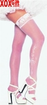 Lace Top Thigh High Stockings With Bridal Wedding Bell Appliques EM 9021