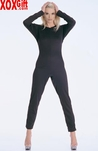 Long Sleeves Opaque Catsuit With Zipper Back LA 8754