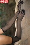 Erotic Black Above Elbow Long Fishnet Gloves LA 2010