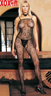 Seamless Spaghetti Strapped Rose Lace Crotchless Bodystocking LA 89000