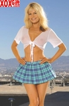 School Girl Fantasy Costume!! Pleated mini skirt & short sleeve tie front top EM 9174