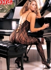 Black Crotchless Lace Bodystocking With Criss-Cross Back R 0027