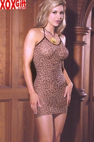 Plus Size Women's Leopard Slip Minidress EM 1496Q