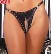 Womens Plus Size Leather cut out thong With chain and stud trim EM L9197X