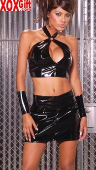 Vinyl halter top With keyhole opening EM V4119
